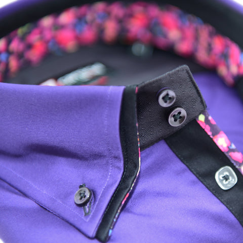 Men's Purple Shirt with Black Double Collar