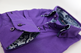 Men's purple shirt with paisley double collar cuff