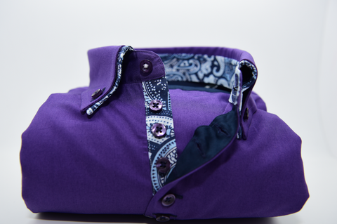 Men's Purple Shirt with Paisley Double Collar