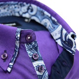 Men's purple shirt with paisley double collar upclose