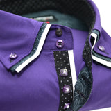 Men's Purple Shirt with Black Paisley and White Triple Collar