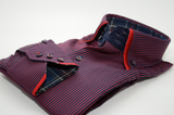 Men's red and navy blue stripe shirt red double collar cuff