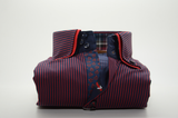 Men's red and navy blue stripe shirt red double collar front