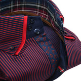 Men's red and navy blue stripe shirt red double collar upclose