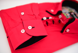 Men's red shirt black double collar cuff