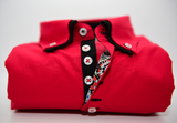Men's red shirt black double collar front
