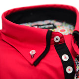 Men's red shirt black double collar upclose
