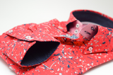 Men's red patterned shirt with single collar cuff