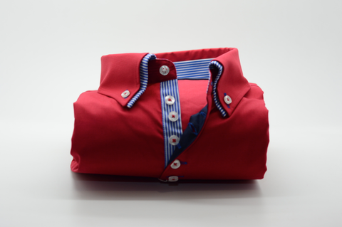 Men's Red Shirt with Blue Striped Double Collar