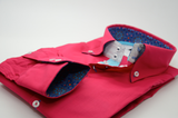 Men's red/pink shirt aqua blue trim cuff