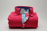 Men's red/pink shirt aqua blue trim front