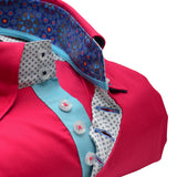 Men's red/pink shirt aqua blue trim upclose