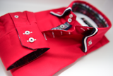 Men's Red Shirt with Navy and White Triple Collar