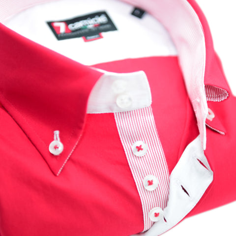 Men's Red Single Collar Shirt