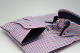 Men's red white and blue striped shirt with navy double collar cuff