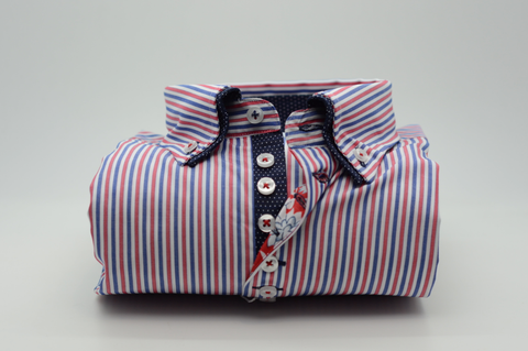 Men's Red, White and Blue striped shirt with Navy Double Collar