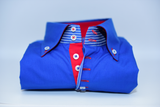 Men's Royal Blue Shirt with Red Contrast