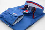 Men's royal blue shirt with red double collar cuff