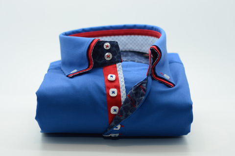 Men's Royal Blue Shirt with Red Double Collar