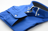 Men's royal blue slim fit shirt with small white double collar cuff