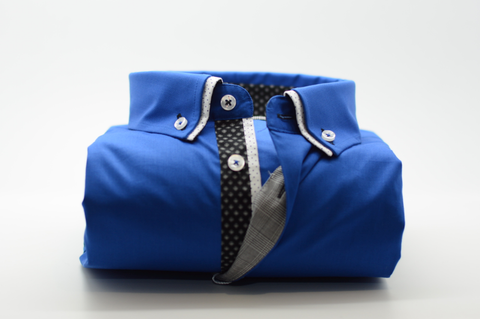 Men's Royal Blue Shirt with Small Double Collar