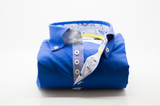Men's royal blue single collar shirt with patterned trim front