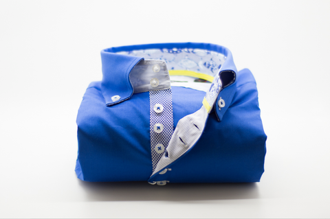 Men's Royal Blue Single Collar Shirt with Patterned Trim