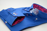 Men's royal blue single collar shirt with pink paisley trim cuff