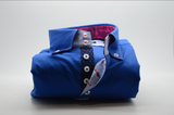 Men's royal blue single collar shirt with pink paisley trim front