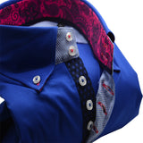 Men's royal blue slim fit shirt with pink paisley trim upclose