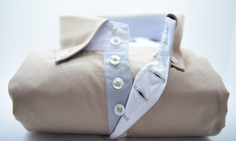 Men's Stone Shirt with Grey Trim