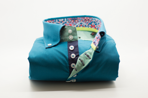 Men's Teal Single Collar Shirt with Navy trim