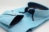 Men's Oxford Cotton aqua blue double collar shirt cuff