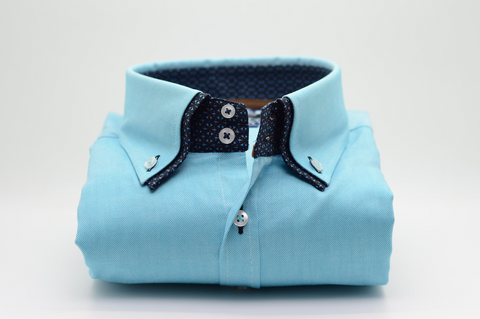 Men's Aqua Blue Oxford Cotton Shirt with Navy Double Collar