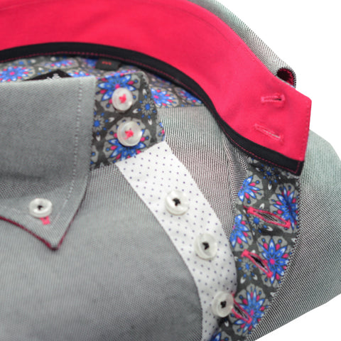 Men's Grey Single Collar Shirt with Paisley and Pink Trim