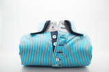 Men's turquoise and white stripe shirt navy double collar front