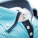 Men's turquoise abd white stripe shirt double collar upclose