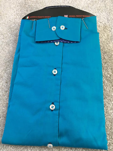 Men's Turquoise Shirt with Navy Double Collar