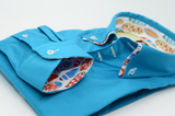 Men's Turquoise Shirt with Multicolour Double Collar