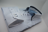 Men's white shirt light blue stripe navy blue double collar cuff