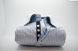 Men's white shirt light blue stripe navy blue double collar front