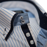 Men's white shirt light blue stripe navy blue double collar upclose