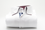 Men's white oxford cotton shirt navy trim front