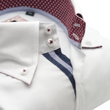 Men's white oxford cotton shirt navy trim upclose
