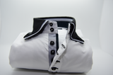 Men's white shirt with black double collar and cuffs front