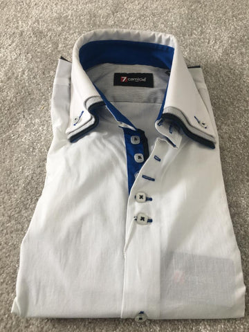 Men's White Shirt with Black Triple Collar