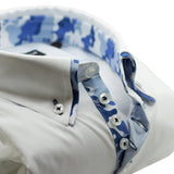 Men's white slim fit shirt with blue camouflage double collar upclose