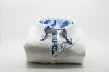 Men's white slim fit shirt with blue camouflage double collar front