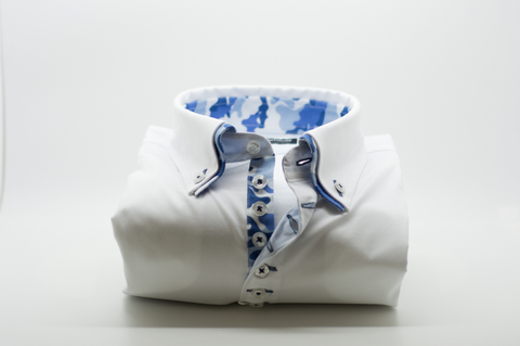 Men's White Shirt with Blue Patterned Double Collar