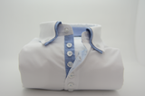 Men's white shirt blue check double collar front